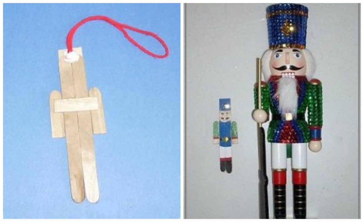 (left) Unpainted assembled ornament. (right) Miniature clothespin ornament and the real thing.