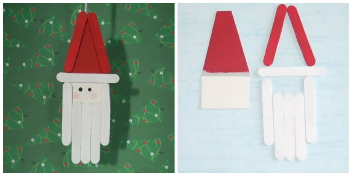(left) Craft-stick Santa ornament.  (right) Cardboard backing for ornament.