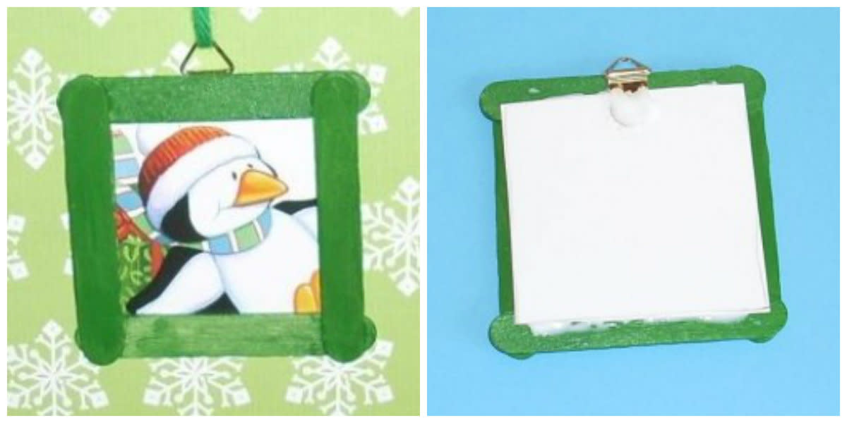 (left) Mini craft sticks make a nice small frame.  (right) Back of the frame.
