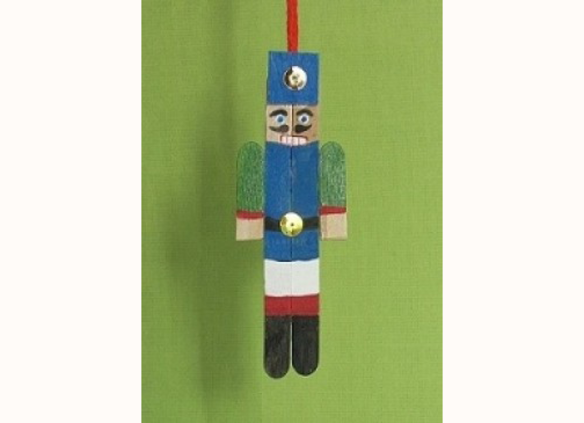 Nutcracker Ornament Made With Popsicle Sticks