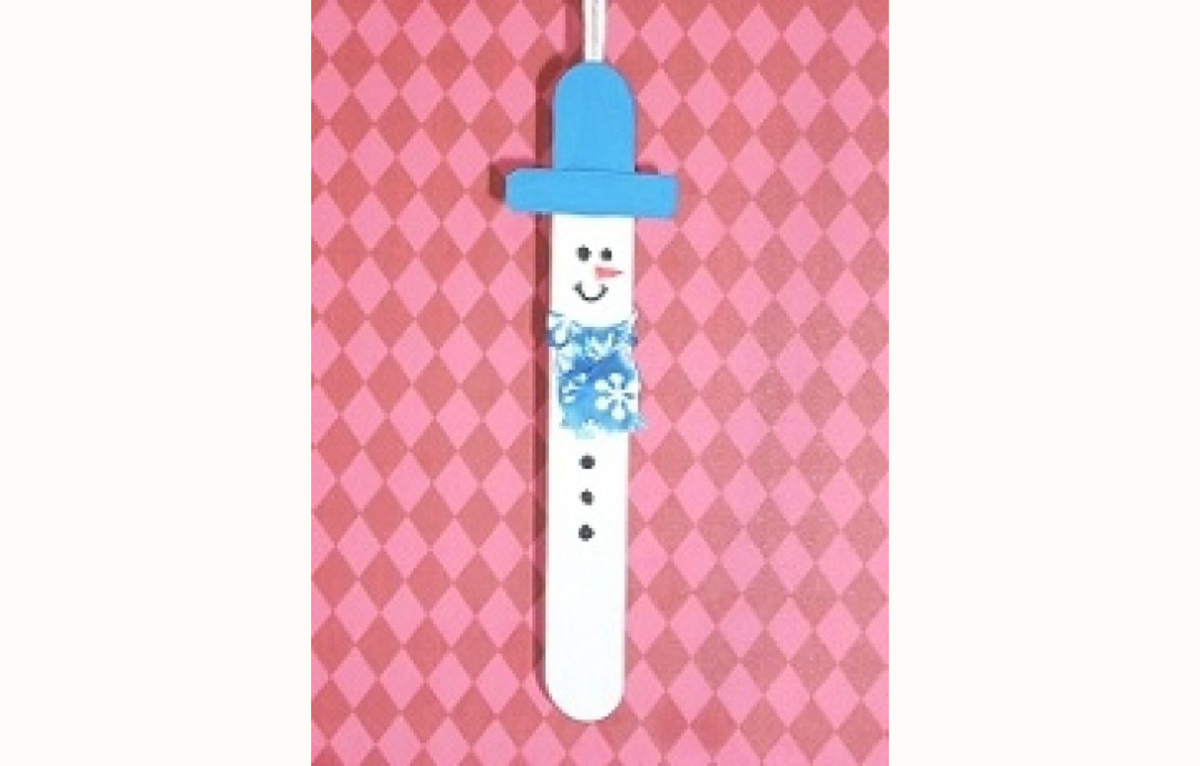 Snowman Ornament Craft made from Popsicle Sticks