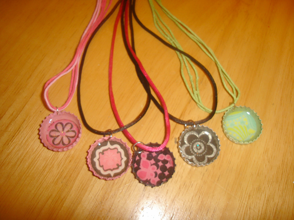 bottle cap pendants with cords
