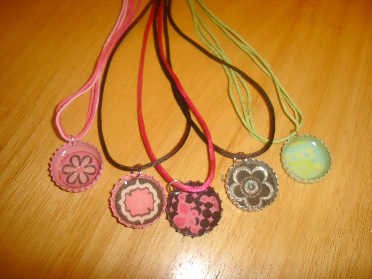 bottle cap pendants with cords