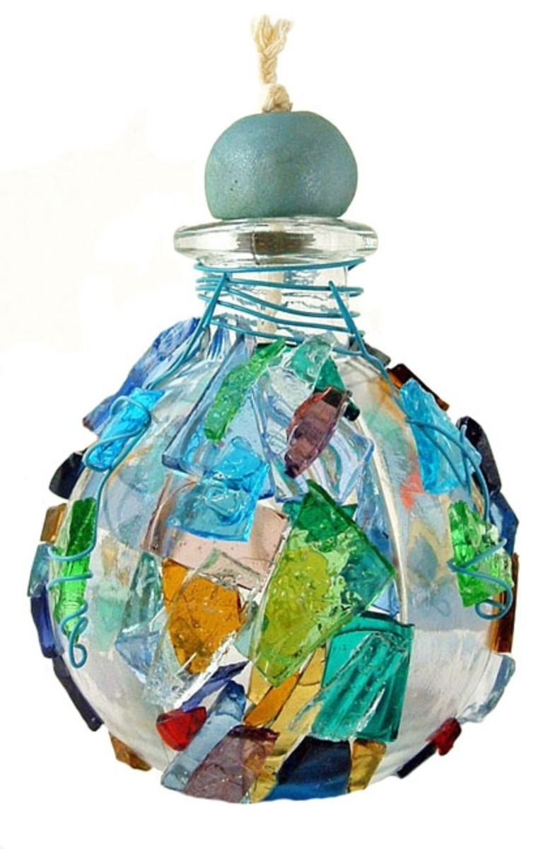 Make your own glass oil lamp with stained glass cobbles