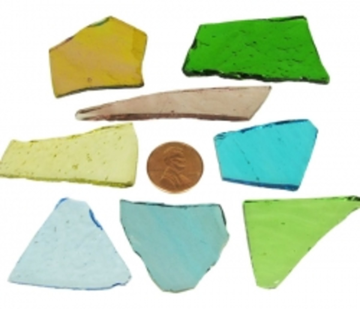 Stained Glass Cobbs shown to size with a penny