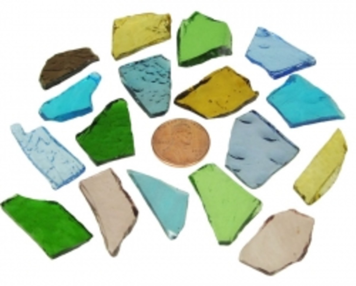 Stained Glass Cobbles shown to size with a penny