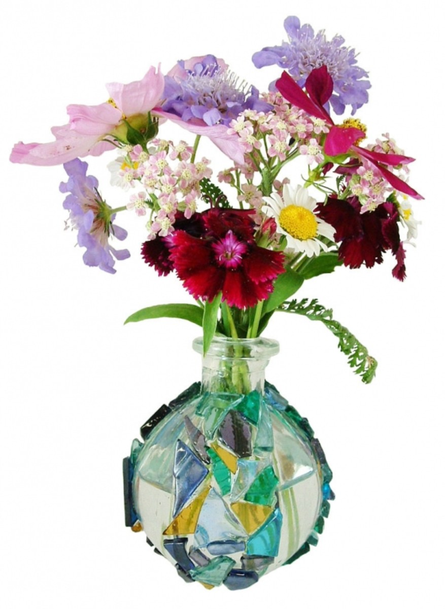Decorating Idea using stained glass, beads, and a recycled glass vase