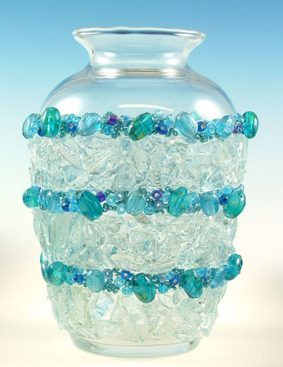 Bead Craft using Stained Glass Cobbles on a recycled glass bottle