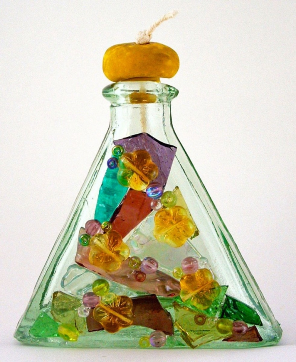 Beads, Glass Bottles, and Stained Glass Cobbles for a Mosaic Design