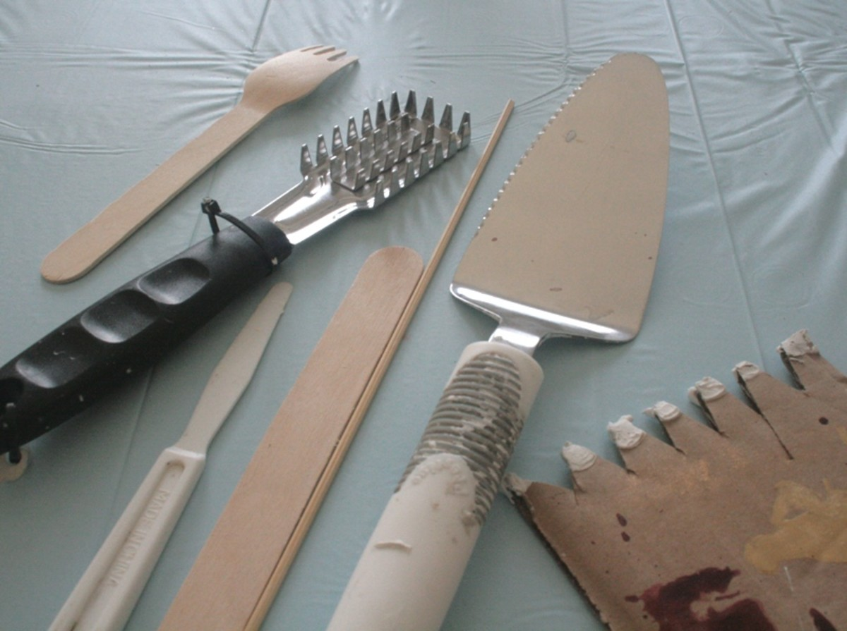 Some implements that I use to apply the texture and make marks in it.