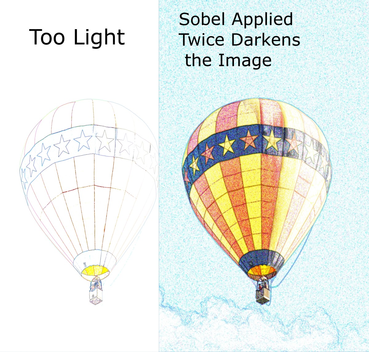 Use the Edge Detect/Edge/Sobel filter more than once to create a more vibrant image.