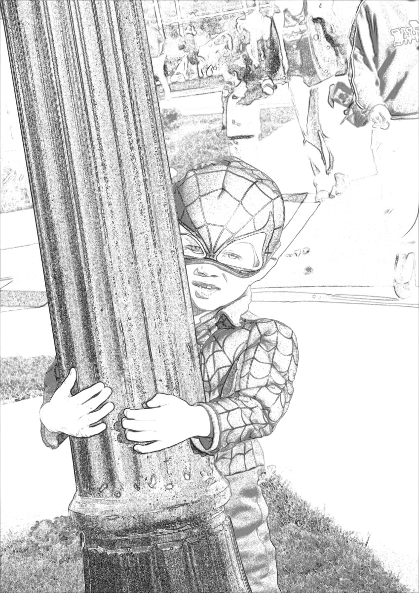 Desaturating the cartoon gives the look of a pencil sketch.