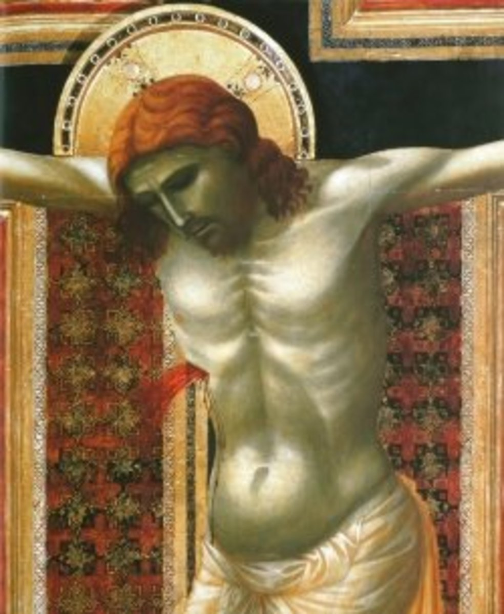 Giotto di Bondone, Crucifix (detail), about 1290-1300, gold and tempera on panel.