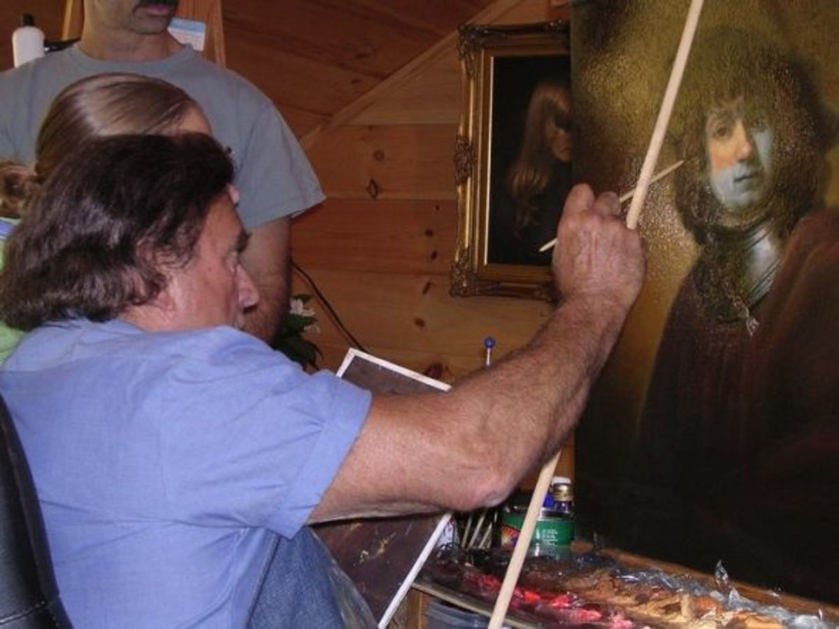 Works in progress at a Frank Covino painting workshop