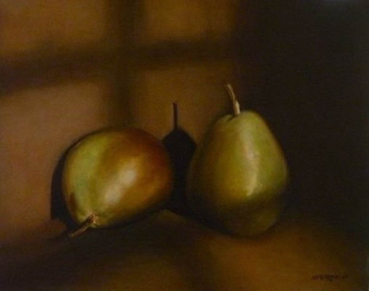 "Verdaccio can also be used for still life paintings, especially for ""fleshy"" fruit like pears."