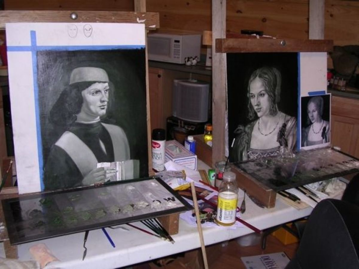 Painting verdaccio in a Frank Covino workshop