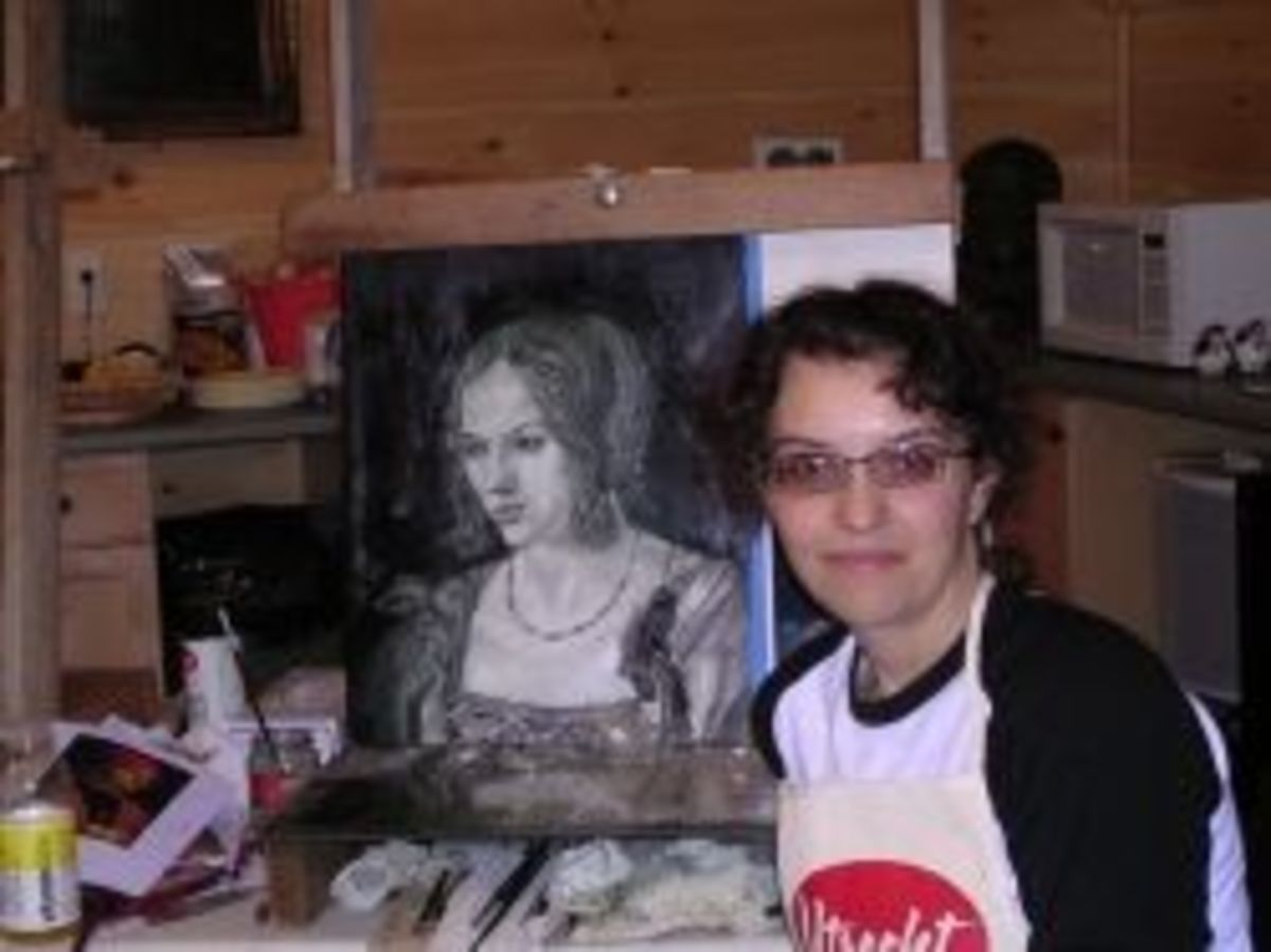 The author at a Frank Covino workshop, where I learned about verdaccio underpainting.