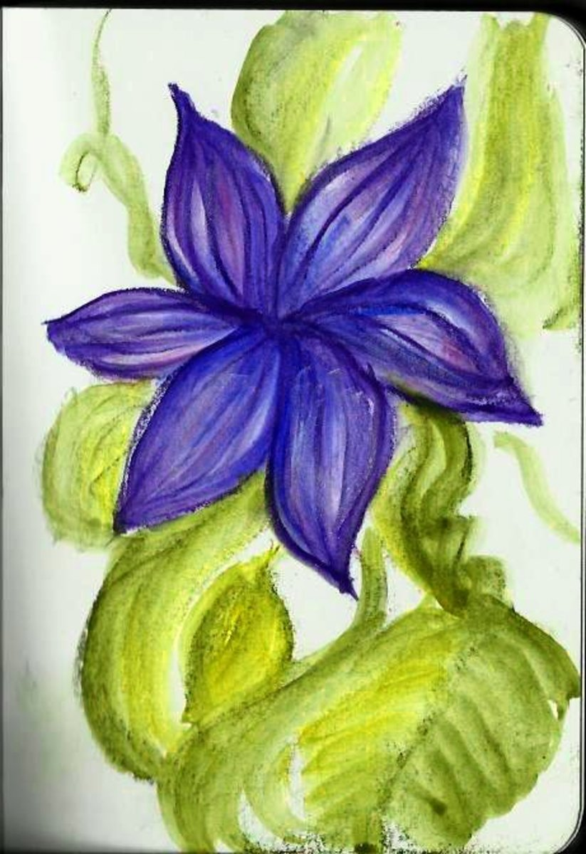 """Clematis"" painting from YouTube video on Inktense Blocks, by Robert A. Sloan using Inktense Blocks, water brush on Derwent soft cover journal."