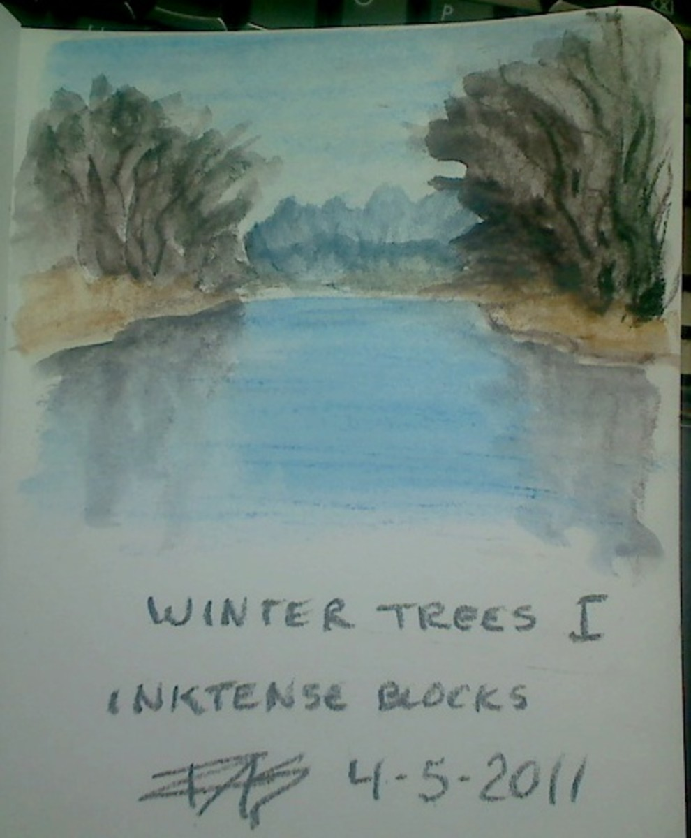 "Winter Trees I, 3"" x 4"" in Inktense Blocks sketched and washed by Robert A. Sloan, on Derwent Soft Cover Art Journal."