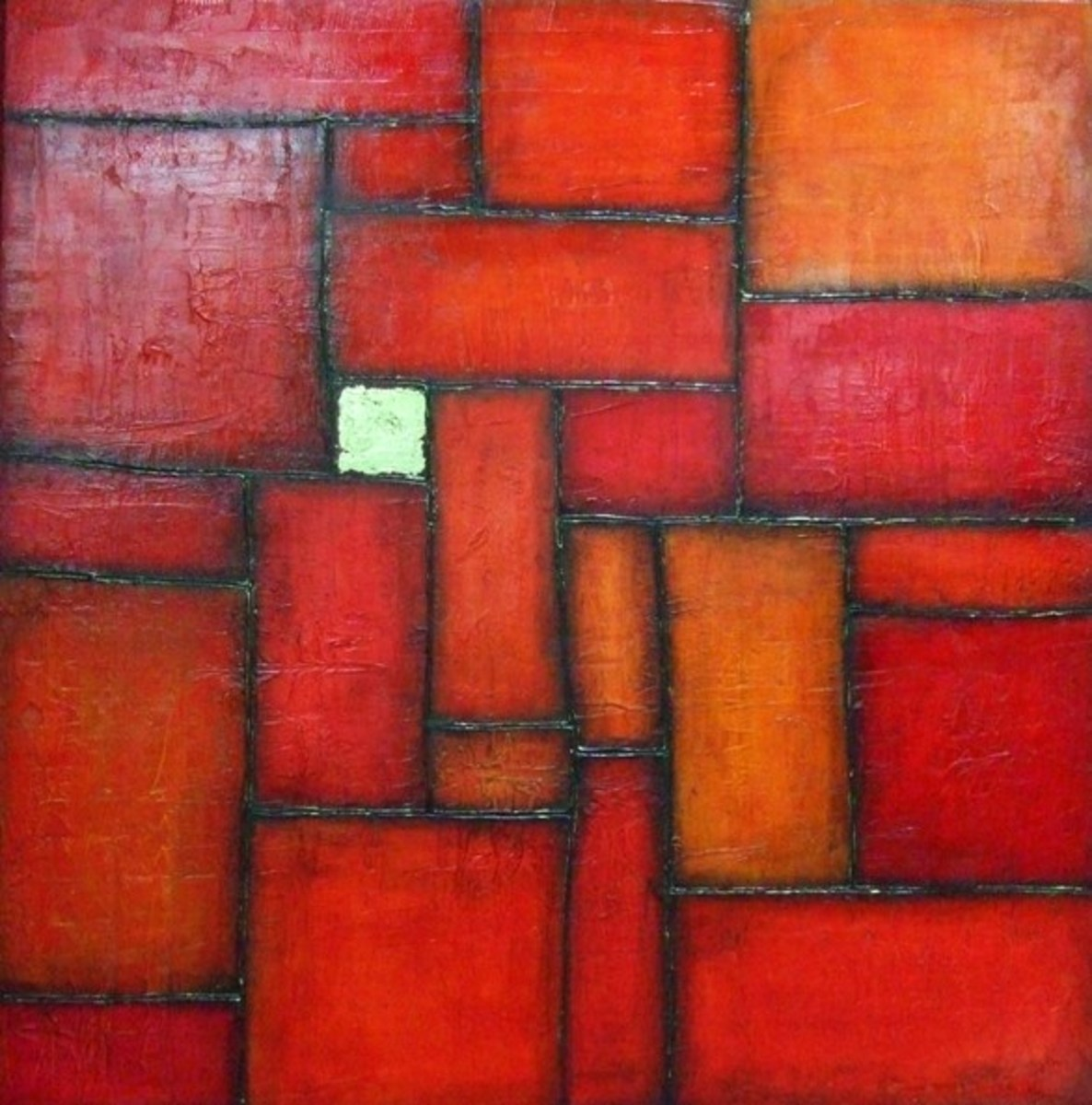 This painting was made by carving out squares and rectangles in the texture before leaving it to dry and painting.