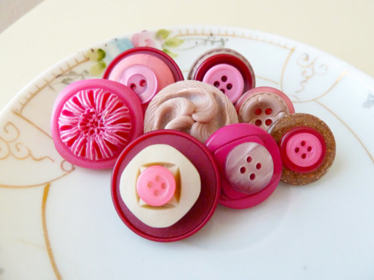 Decorative Tack Set Vintage Sewing Buttons Cherry Cordial