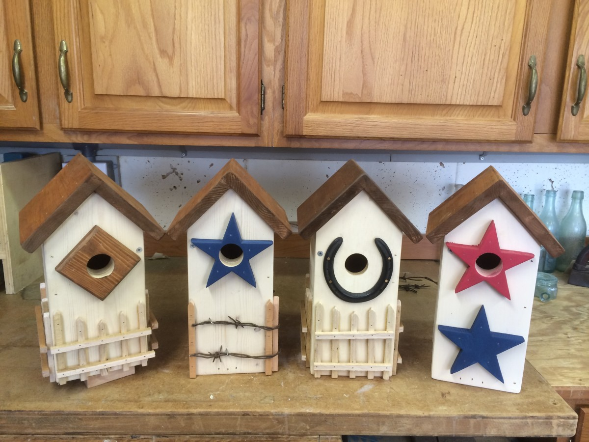 Into unique and customized yard art that the birds will actually use! Variations on a theme: Four different bluebird houses from the same basic design.