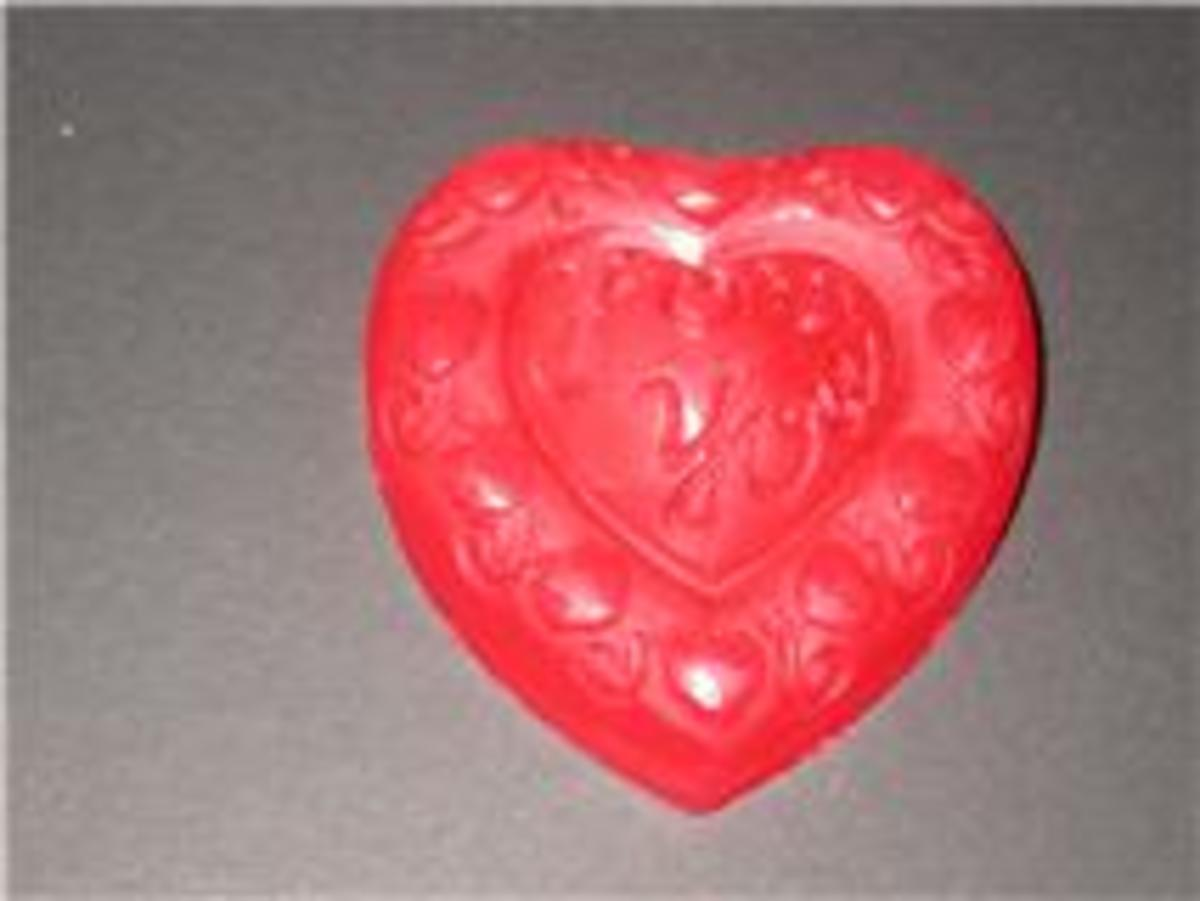 My strawberry scented heart soap.