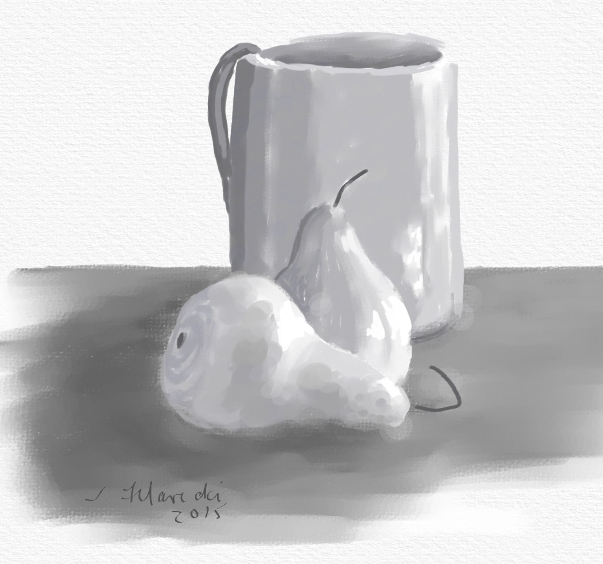 Value painting of two pears and a mug