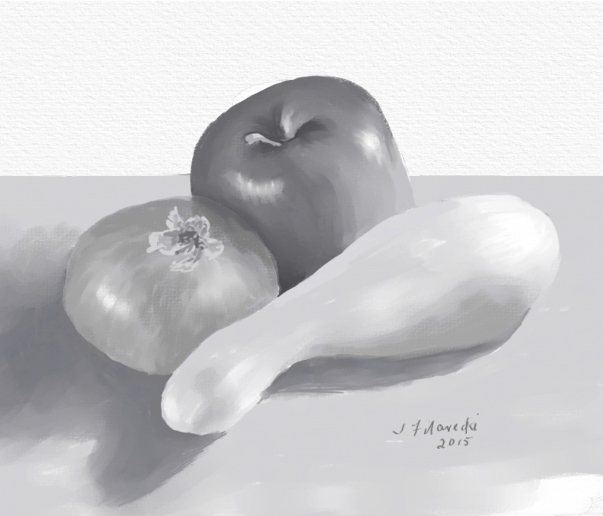 Value painting of an onion, apple and squash
