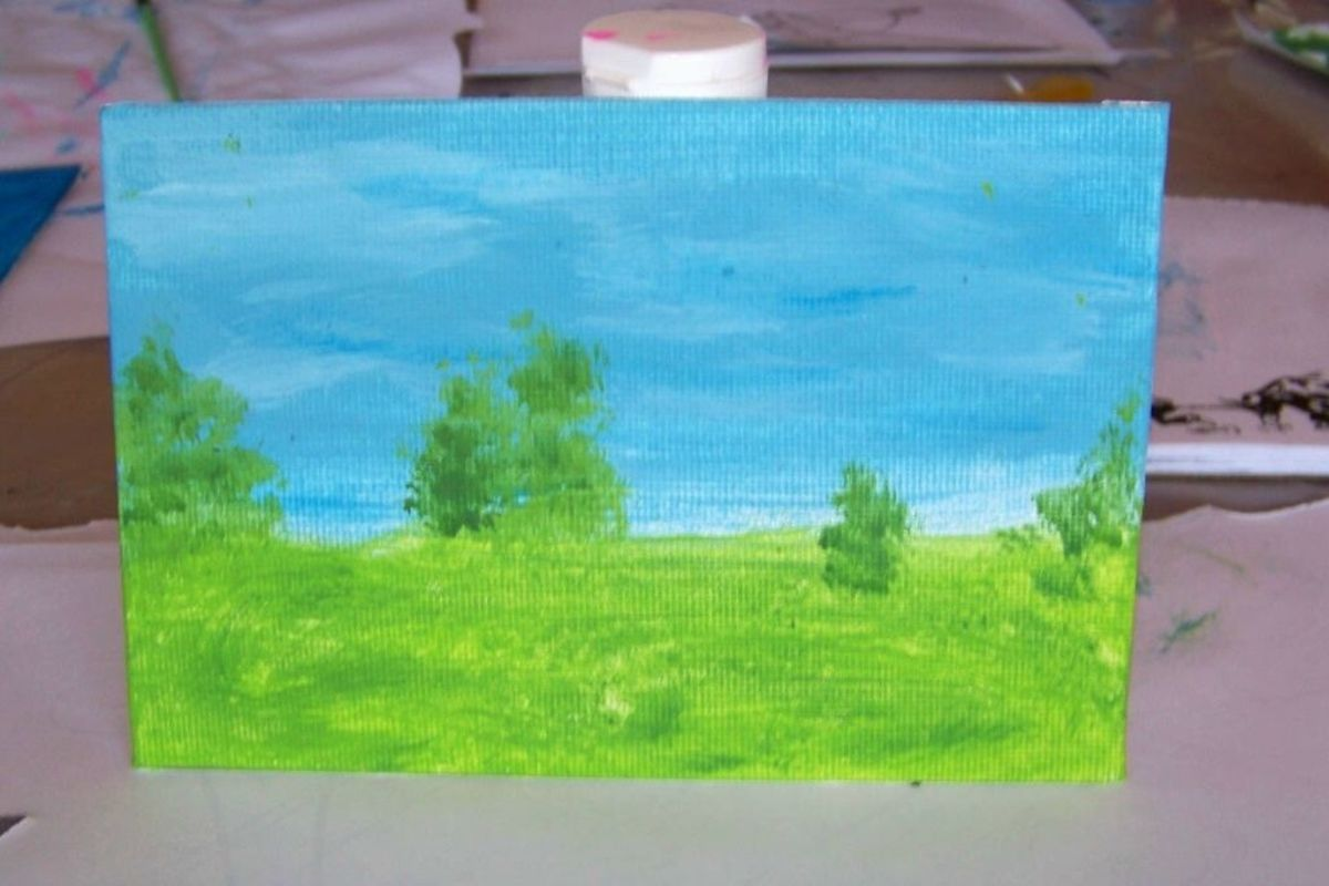 Easy acrylic painting lessons and samples for kids for Teaching kids to paint on canvas