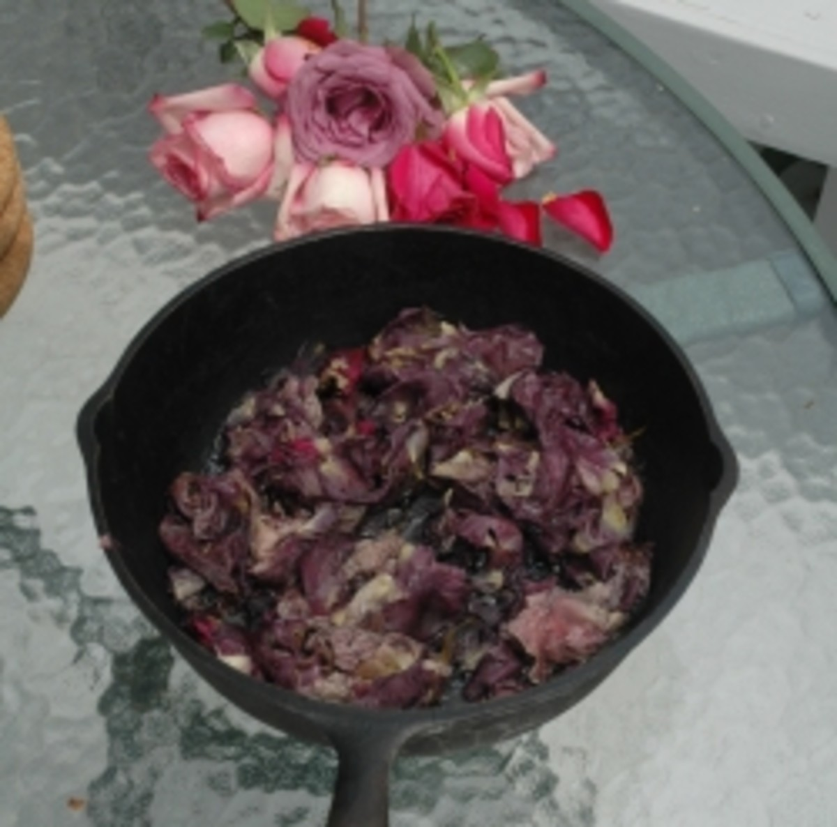 rose petals cooked in a cast iron pan