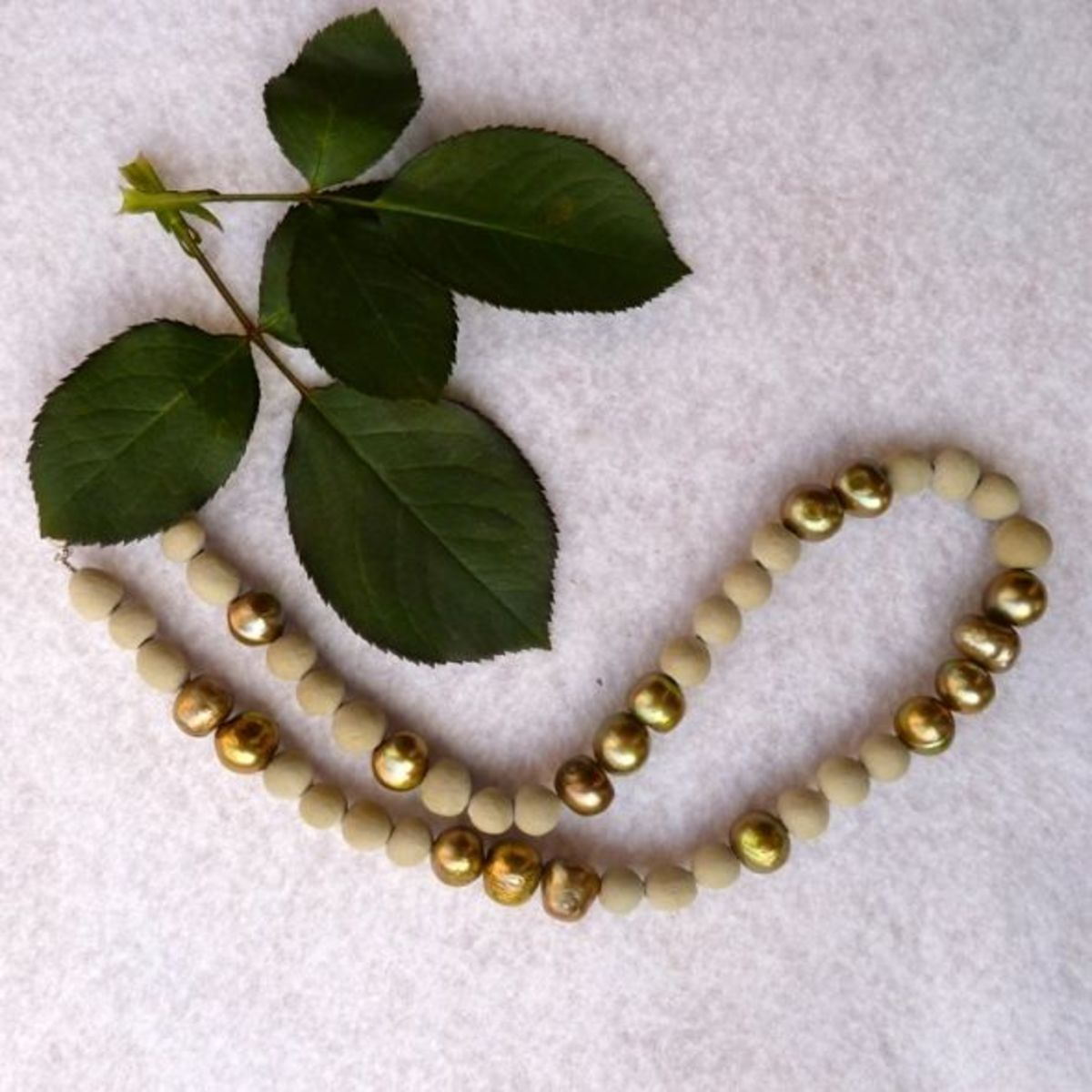 Green and white beads.