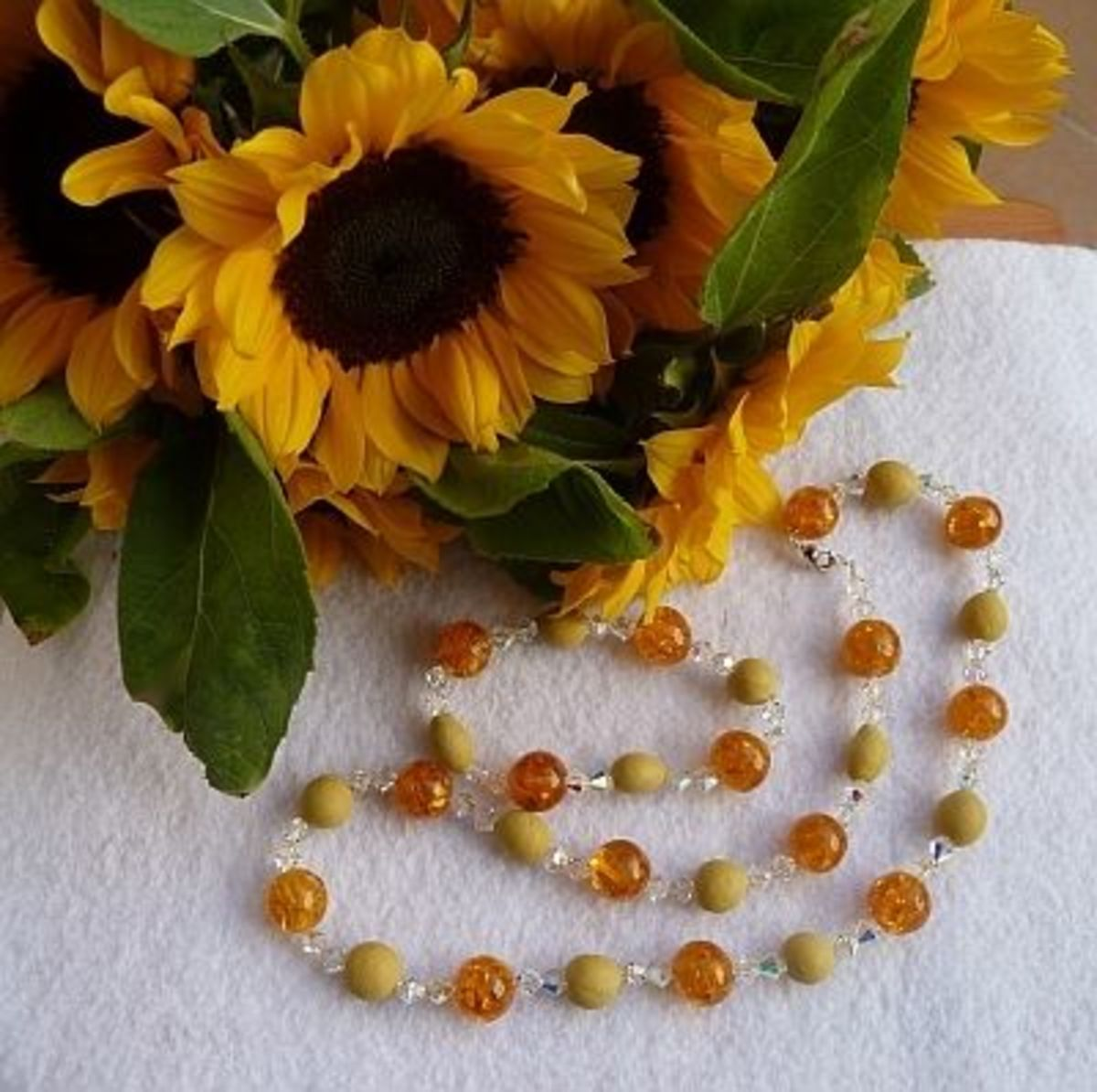 Sunflower necklace.