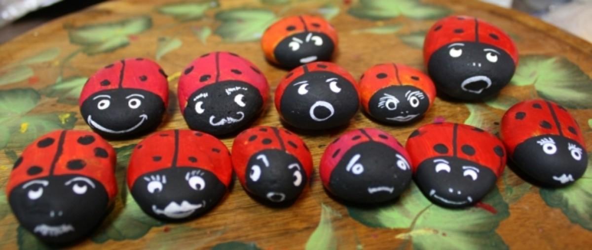 Finished Ladybug Rocks