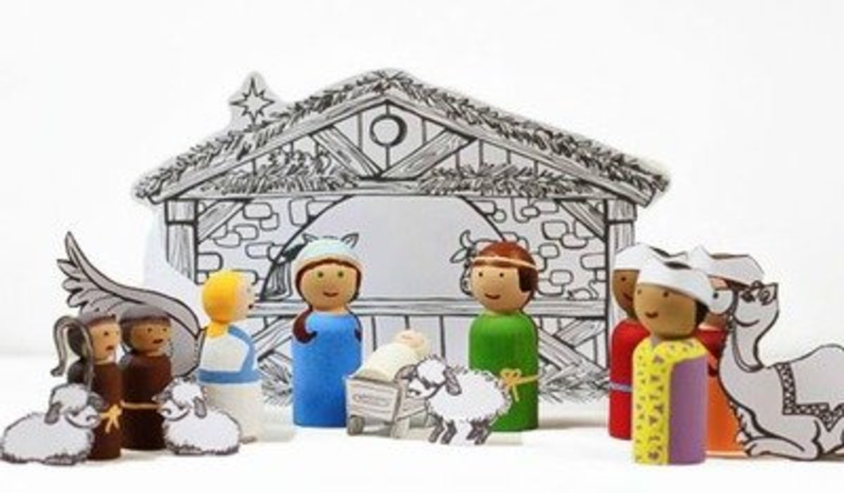 40 beautiful nativity craft ideas feltmagnet christmas nativity peg dolls and stable download solutioingenieria Image collections