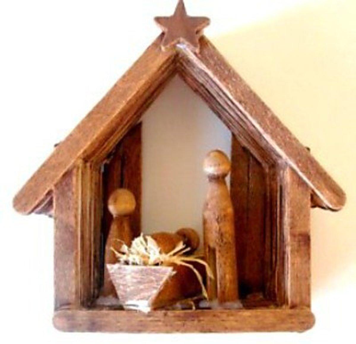 40 beautiful nativity craft ideas feltmagnet craft stick christmas nativity solutioingenieria Choice Image