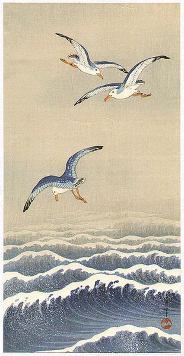 """Seagulls over the Waves"" by Seitei (Shotei) Watanabe"