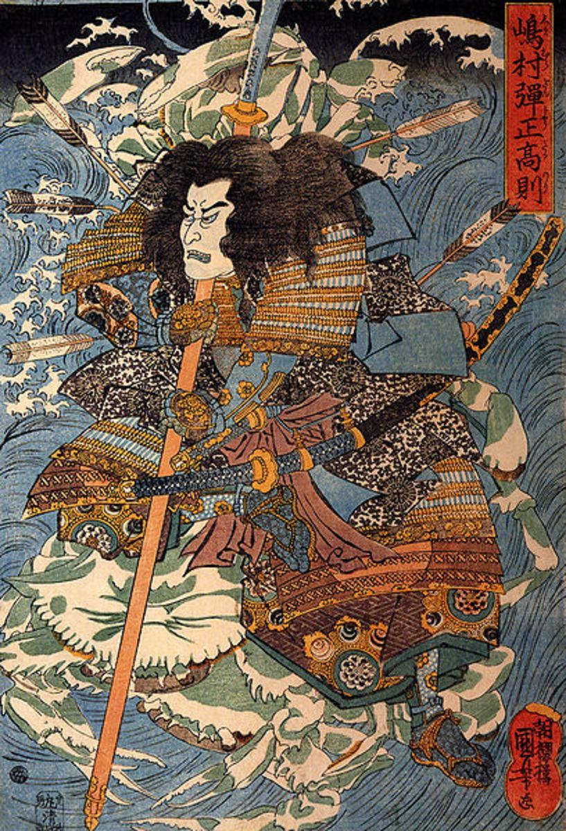 Ukiyo-e print of Shimamura DanjoTakanori riding the waves on the backs of crabs by Utagawa Kuniyoshi.