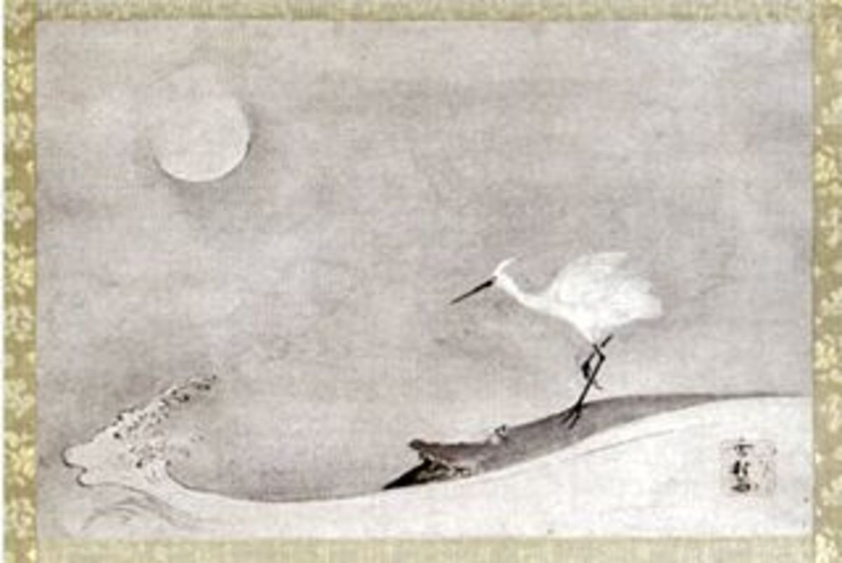 """Egret, Moon, and Crane"" by Sesson Shukei, 18th century."