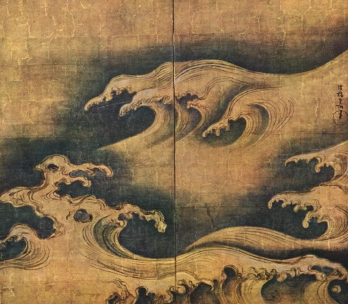 """Rough Waves"" by Ogata Korin."