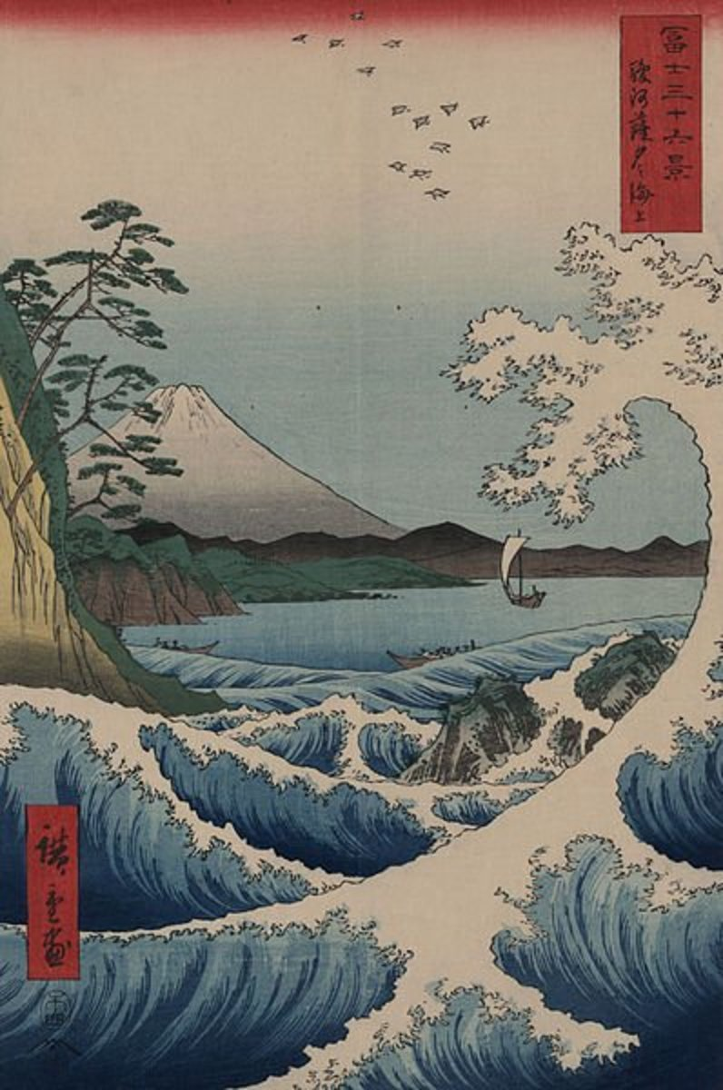 Hiroshige's woodblock print of the view of Mt. Fuji from Satta Point and a tidal wave in Suruga Bay. Printed posthumously in 1859.