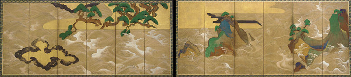 """""""Waves at Matsushima"""" by 17th century Japanese artist Tawaraya Sotatsu."""