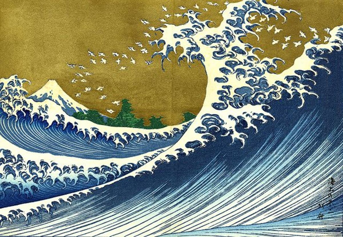 A colorized version of Hokusai's print of the great wave off Kanagawa.