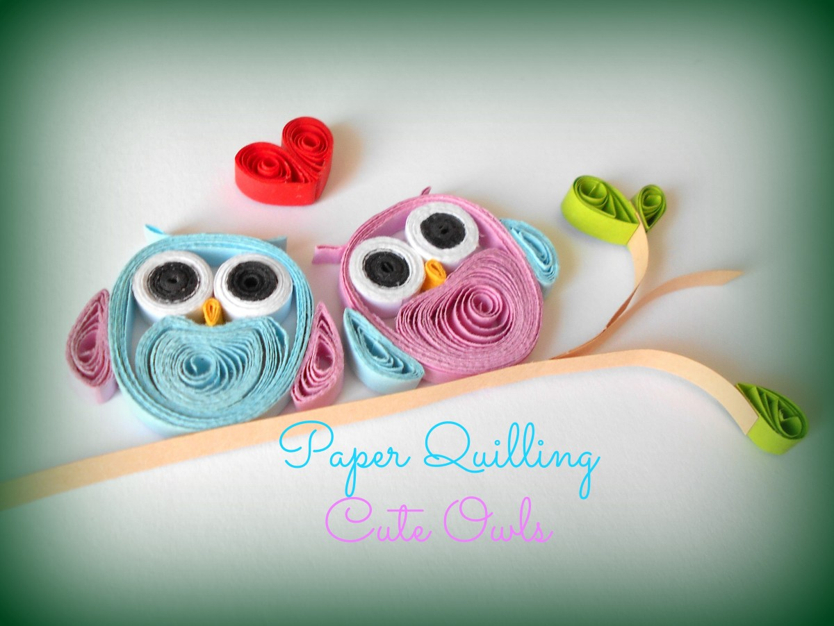 Paper quilling how to make cute owls feltmagnet for Simple paper quilling designs
