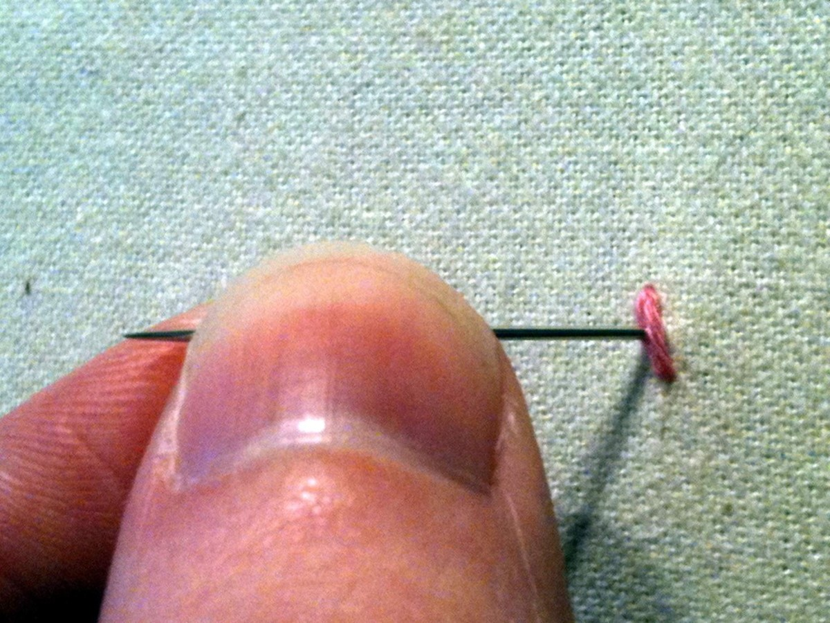 Figure 3: Splitting your first stitch