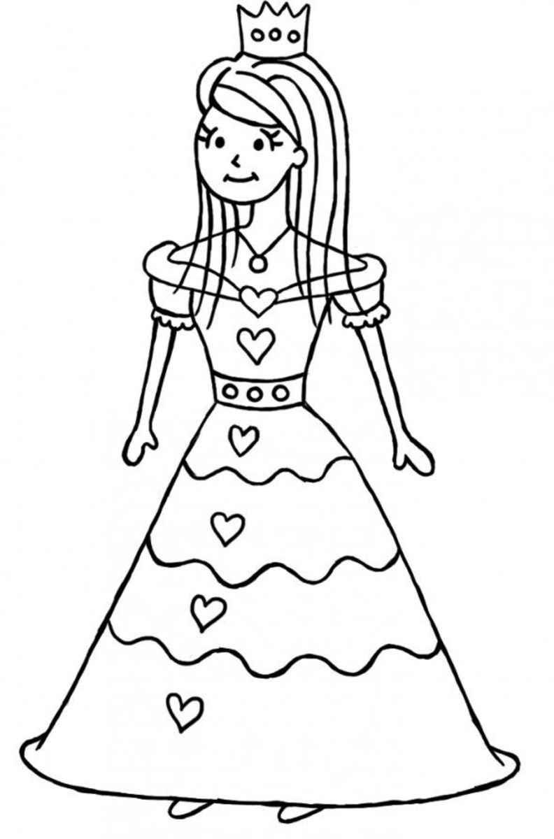 Give the dress lots of detail so your little girl can colour 'til her heart's content!