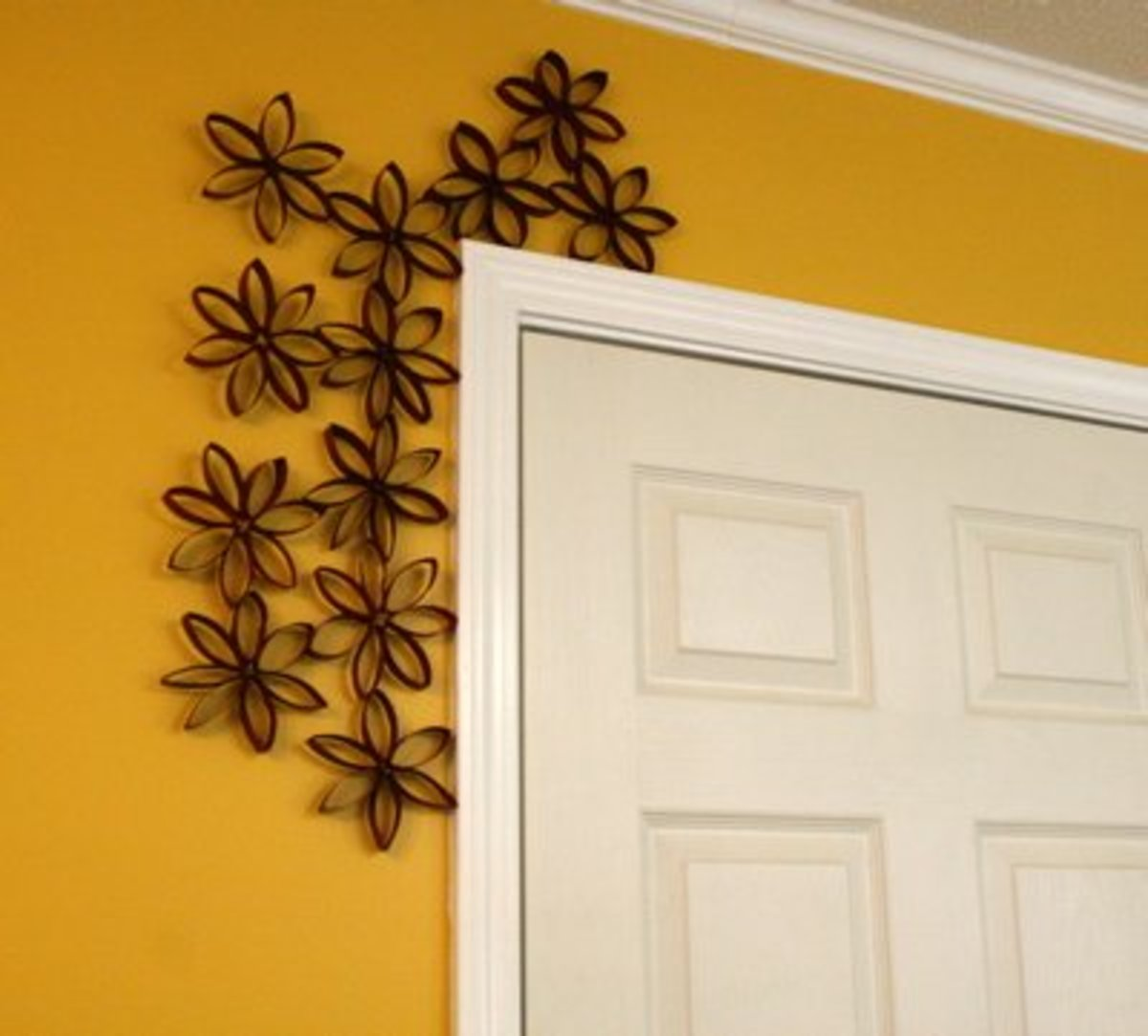 toilet paper rolls door frame decor
