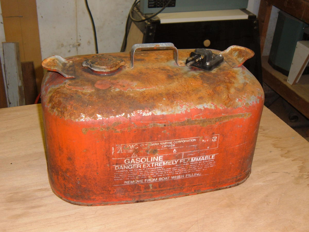 This old fuel tank is a great candidate for a restoration and repainting project.