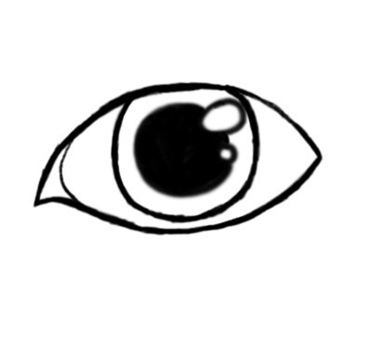 Start adding little details like the pupil (black in the center) and the glare on the eye.