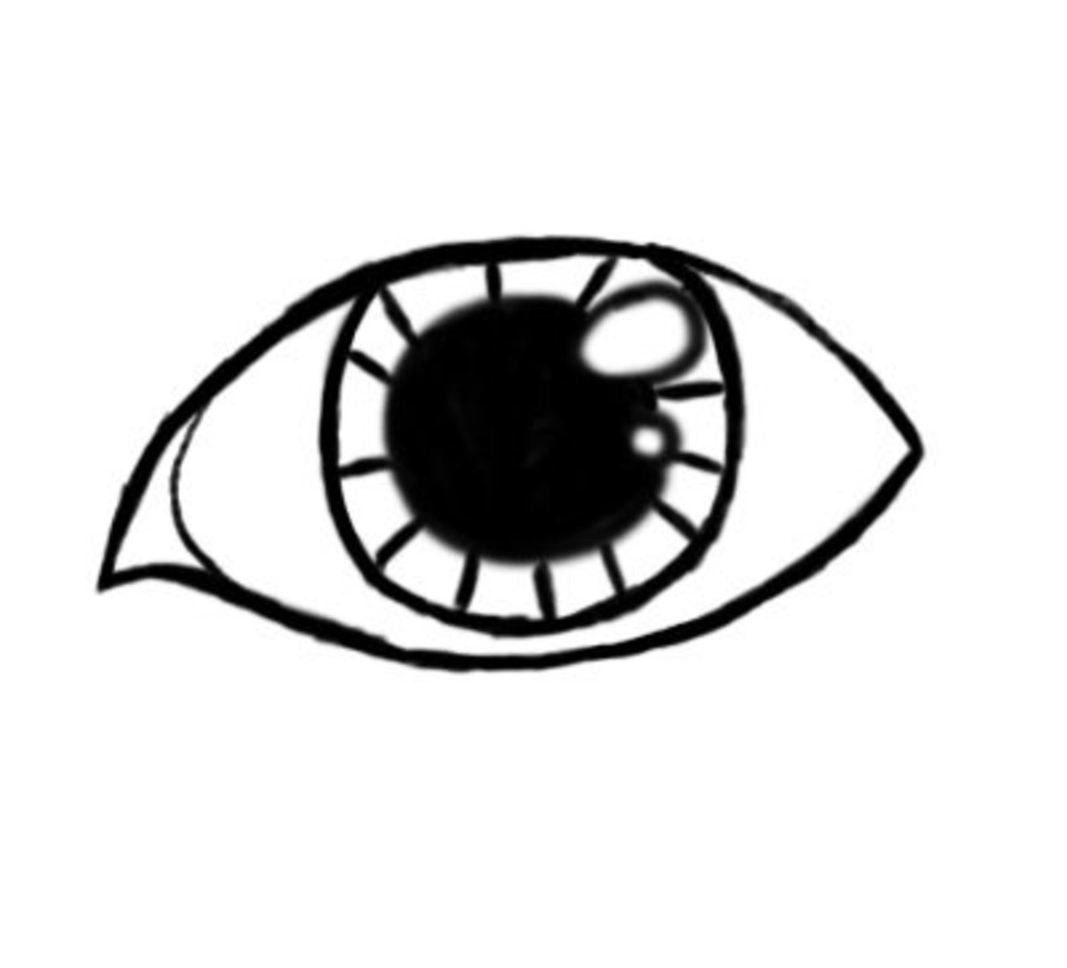 The iris should have a little detail. Draw in lines all around the eye.